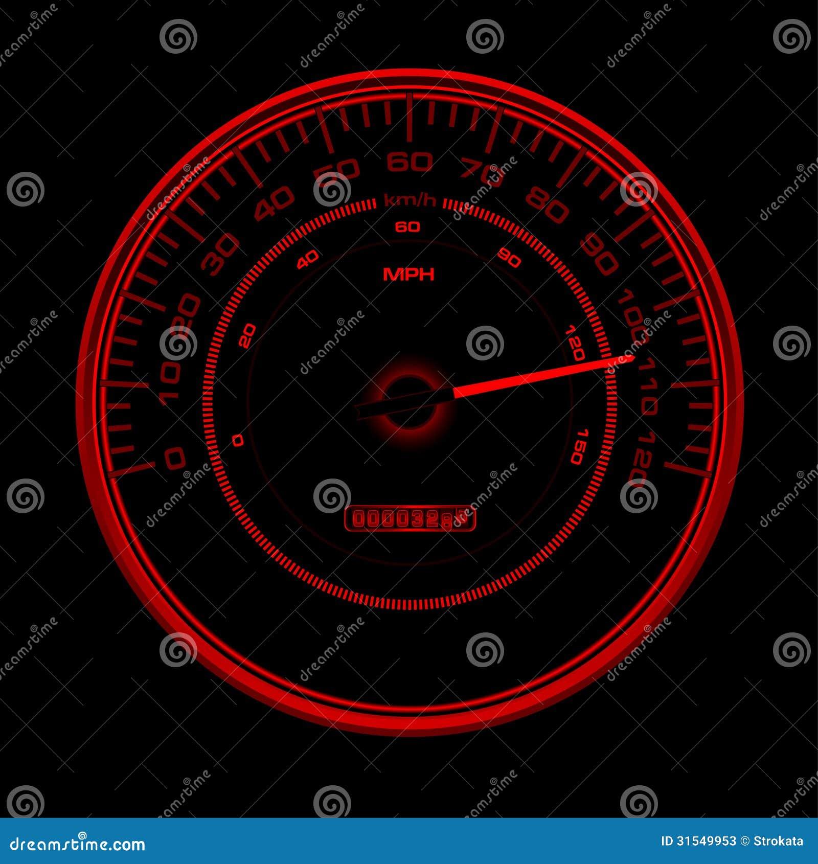 Design Of Red Speedometer Speedo Clock With Inde Stock