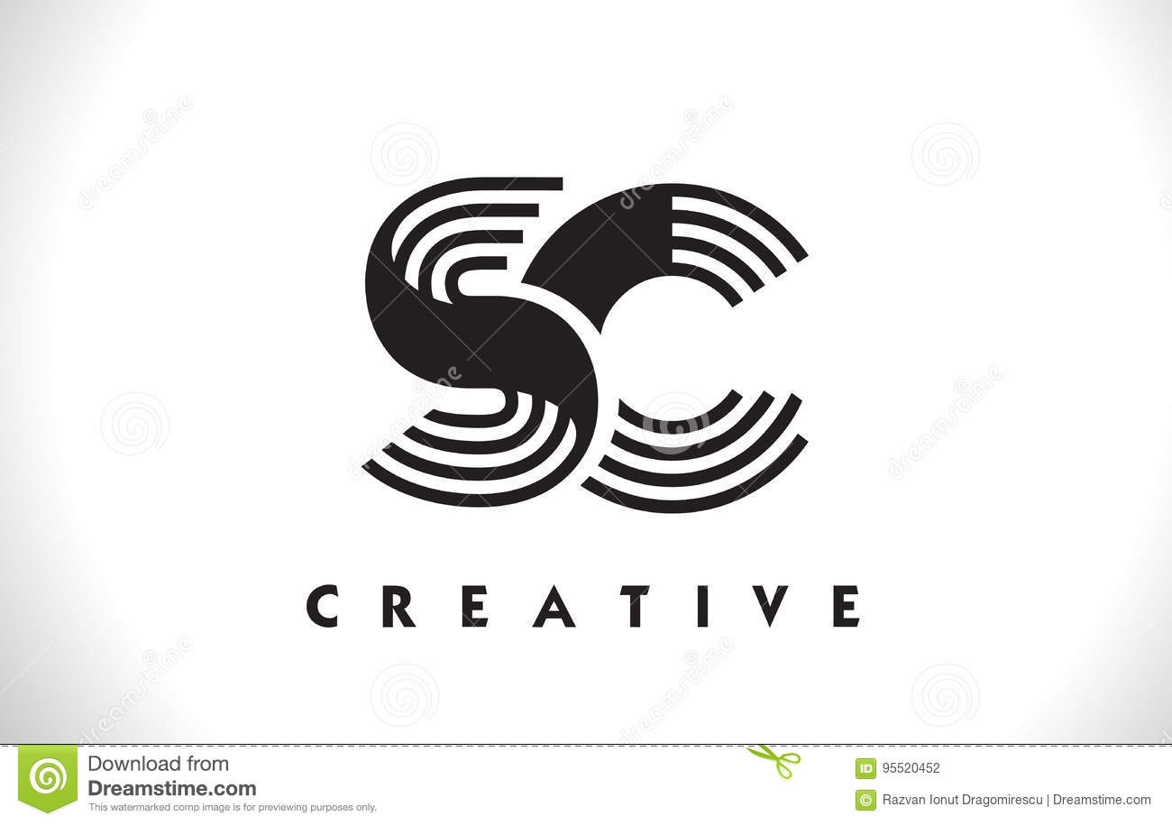 Design Sc Logo Letter With Black Lines Linie Buchstabe