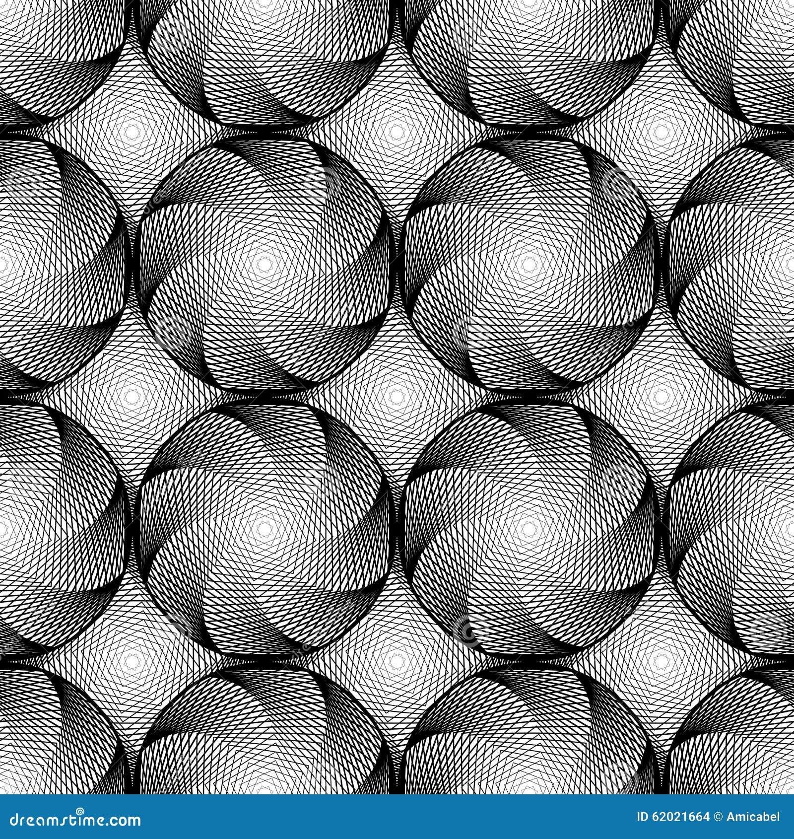 Design Seamless Monochrome Circular Pattern Stock Vector