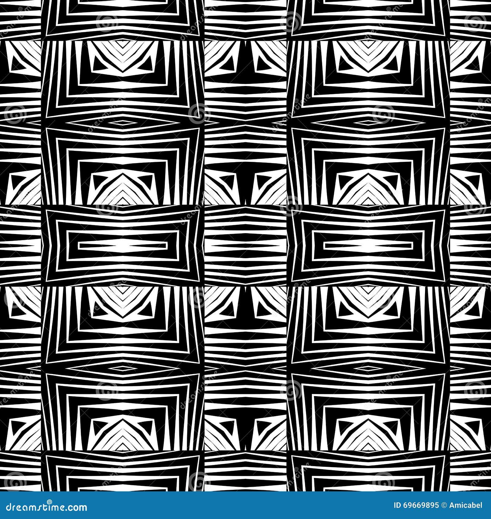 Design Seamless Monochrome Geometric Pattern Stock Vector