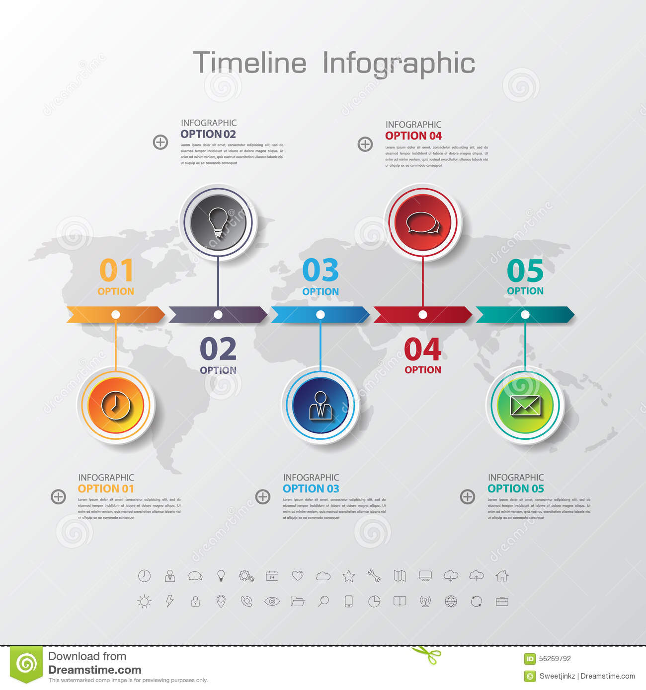 Simple Art Timeline : Design simple step number and line business icon timeline
