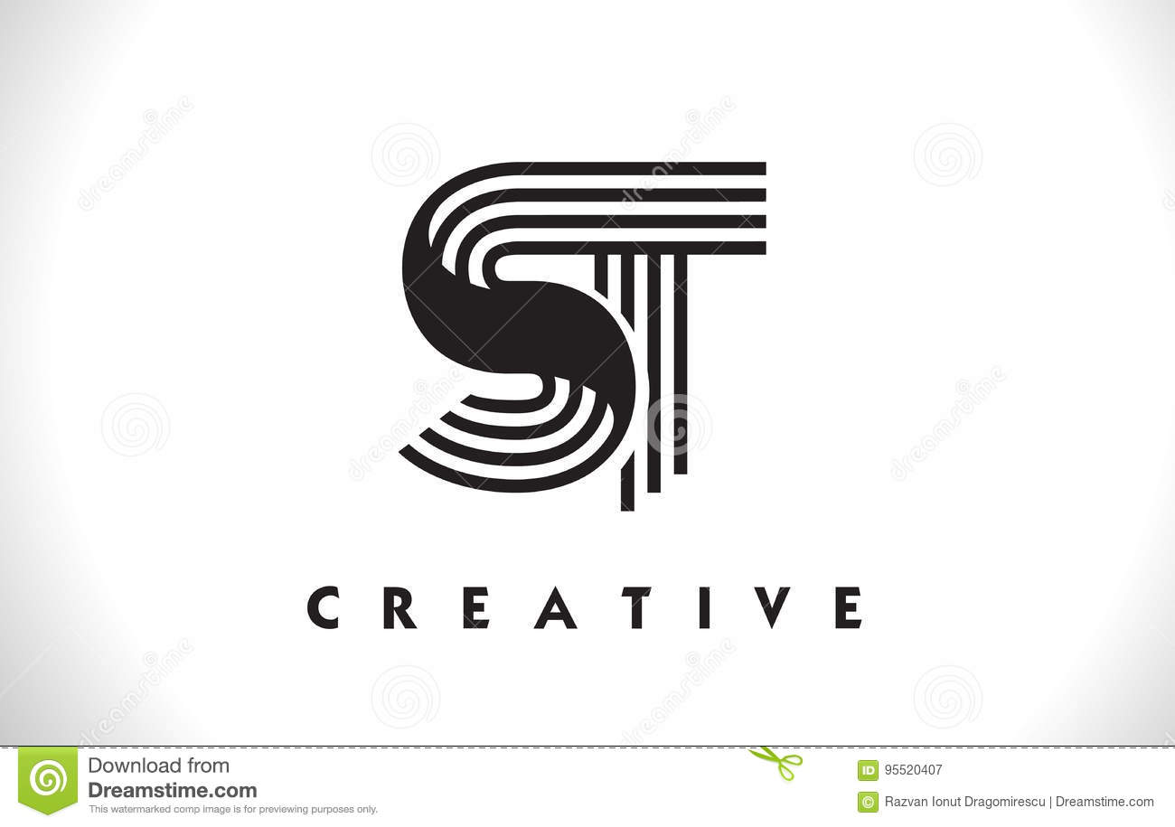 Design St Logo Letter With Black Lines Linie Buchstabe