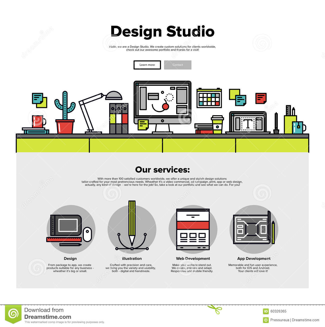 Design Studio Flat Line Web Graphics Stock Vector - Image: 60326365: http://www.dreamstime.com/stock-illustration-design-studio-flat-line-web-graphics-one-page-template-thin-icons-agency-services-digital-develop-apps-image60326365