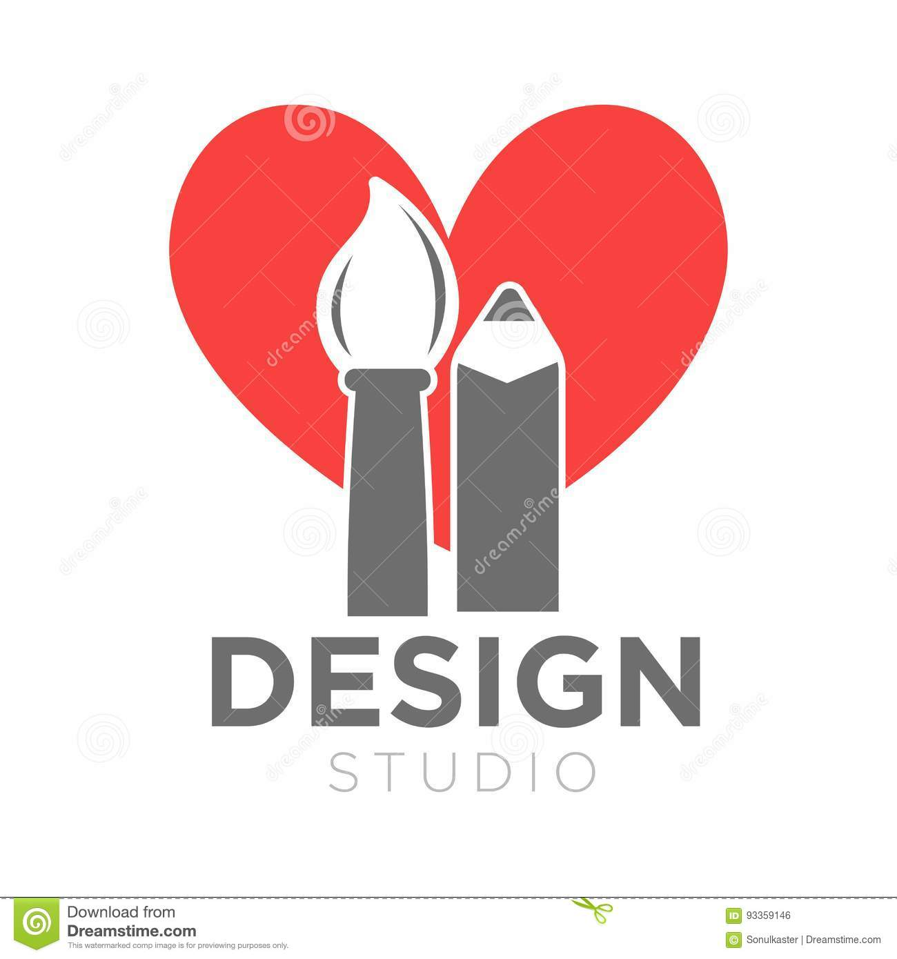 design studio vector icon template of paintbrush and pencil on heart