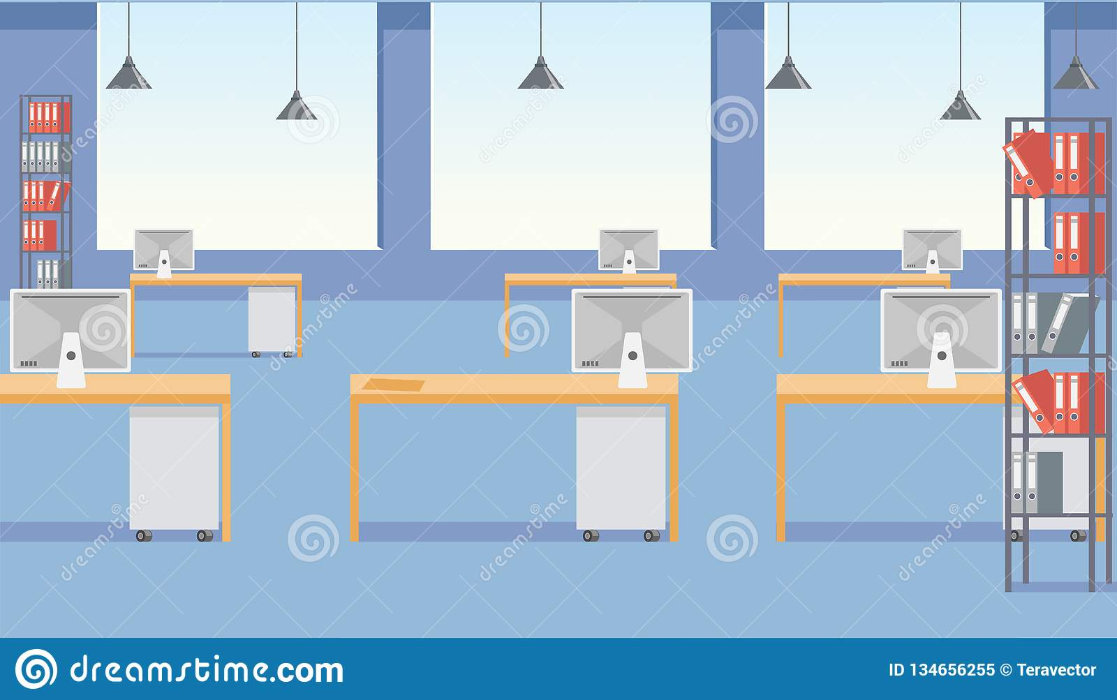 Design Studio, Web Developing Company, Educational Startup, Coworking  Business Center Roomy Office Space Empty Interior With Big Windows, Binders  On Racks ...