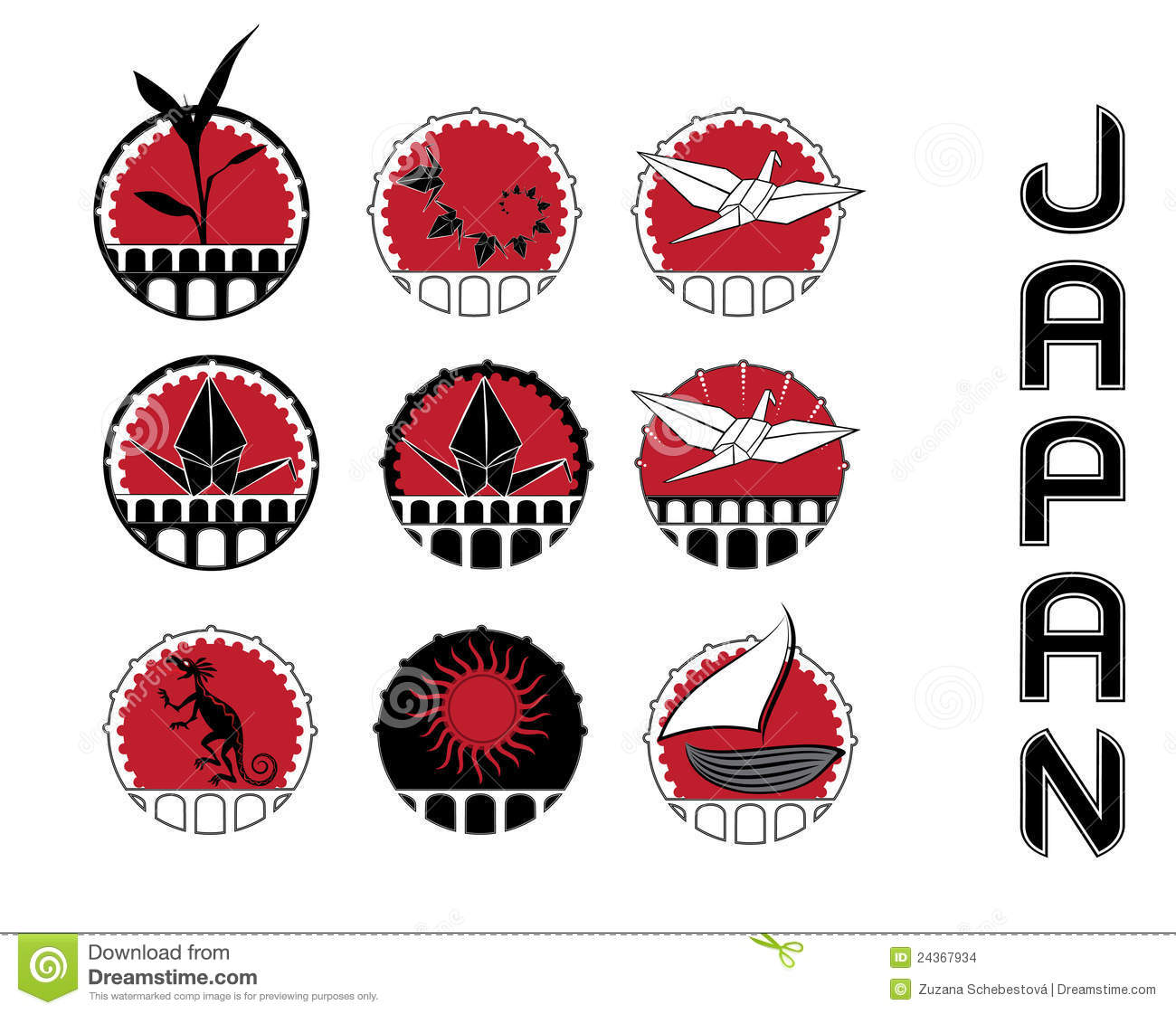 Design Symbols Of Japan Culture Stock Illustration Illustration Of