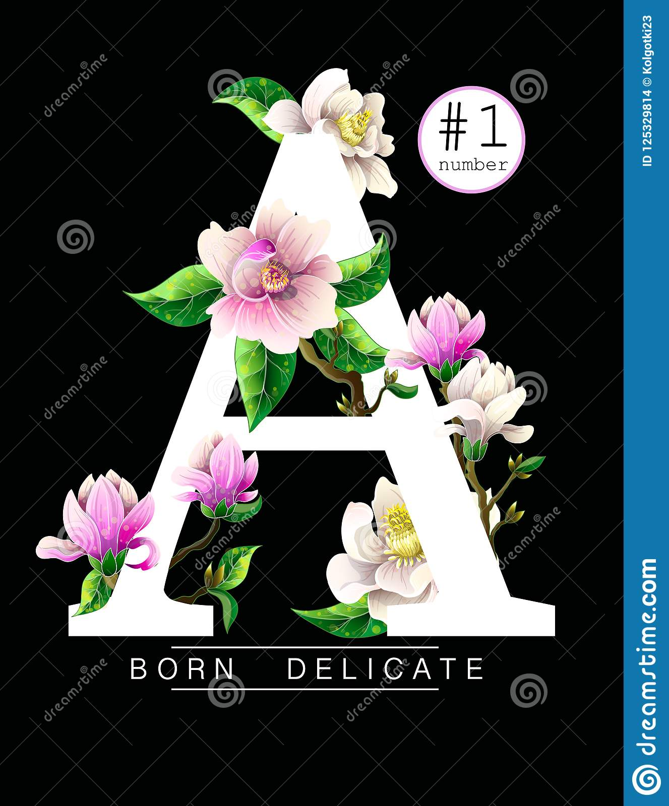 Design T Shirt With Magnolia Flowers And Slogan Vector Illustration
