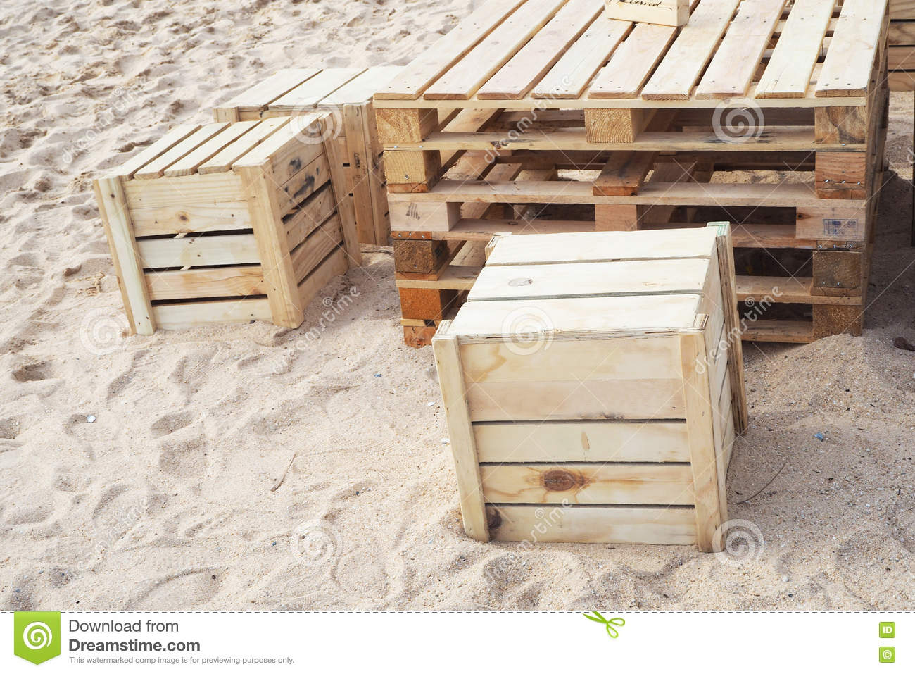 Design Table And Chair Made From Wood Pallets Stock Photo Image Of