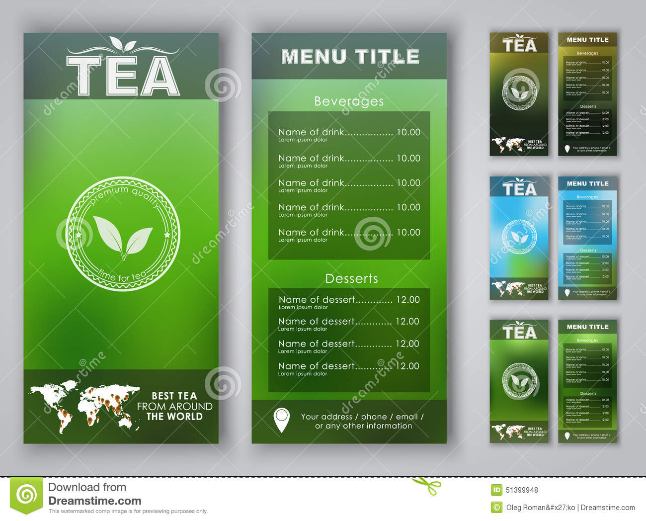 design of a tea menu with blurred background stock