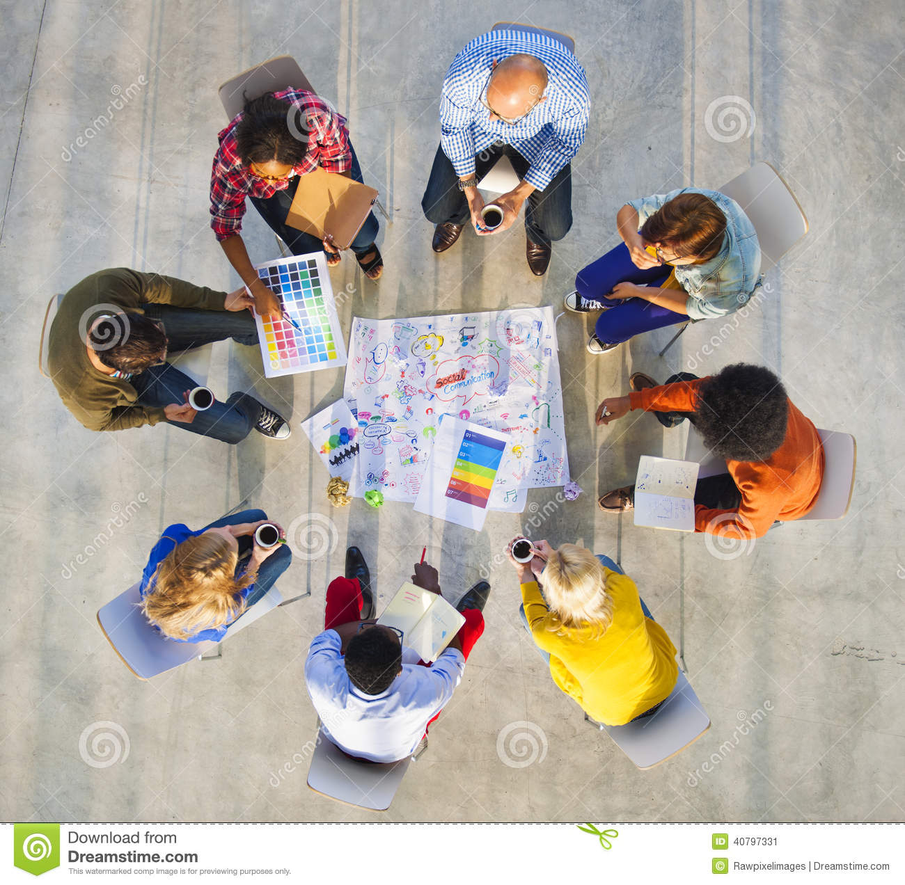 Design Team Planning On A Project With Color Swatches Stock Photo Image 40797331
