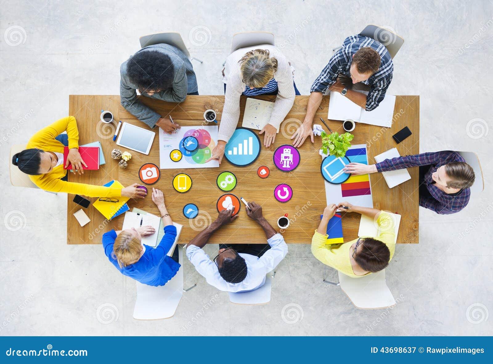 Design Team Planning With Social Media Symbols Stock Illustration Image 43698637