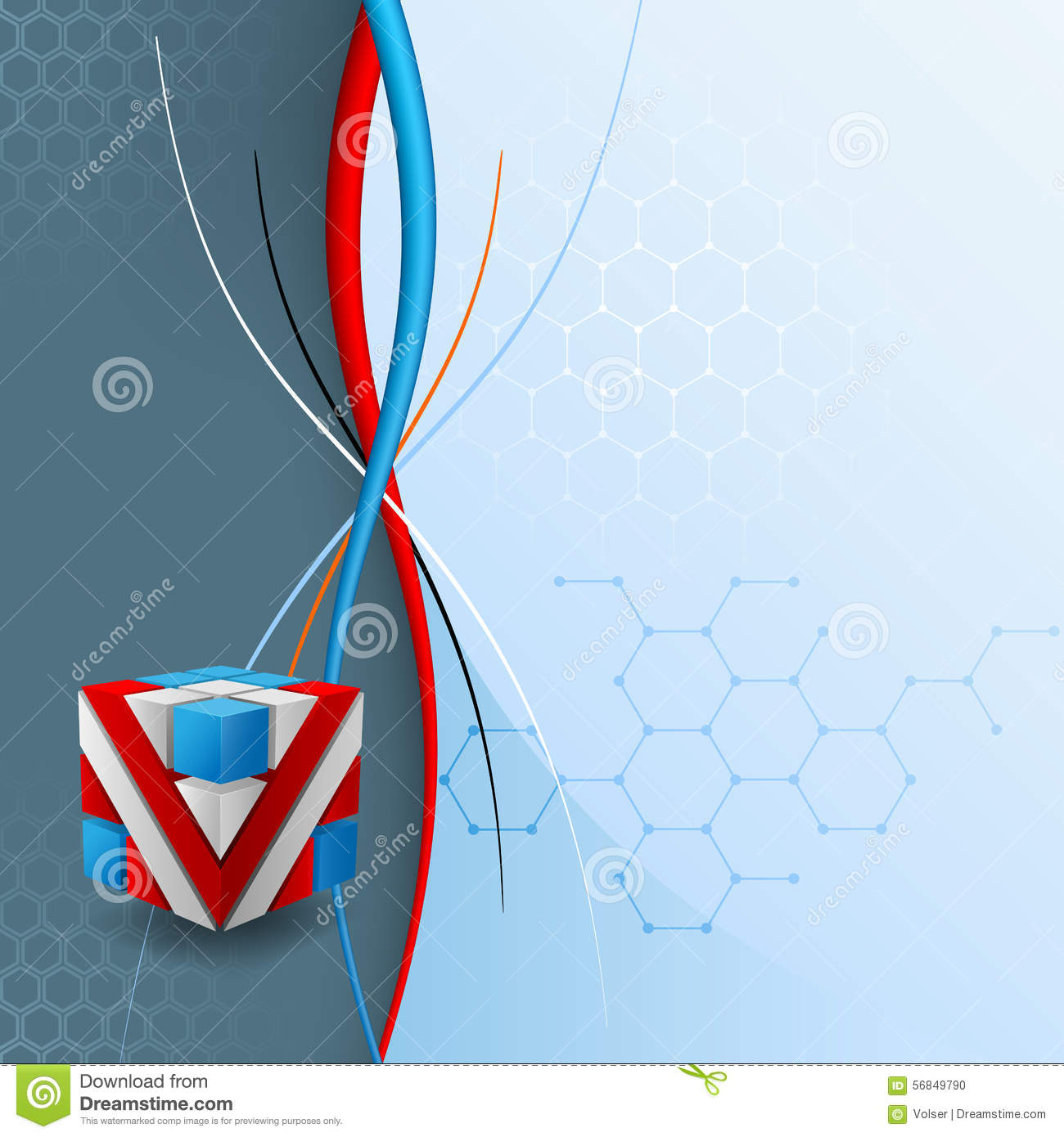 Design Template For Abstract Technology Background With Three ...