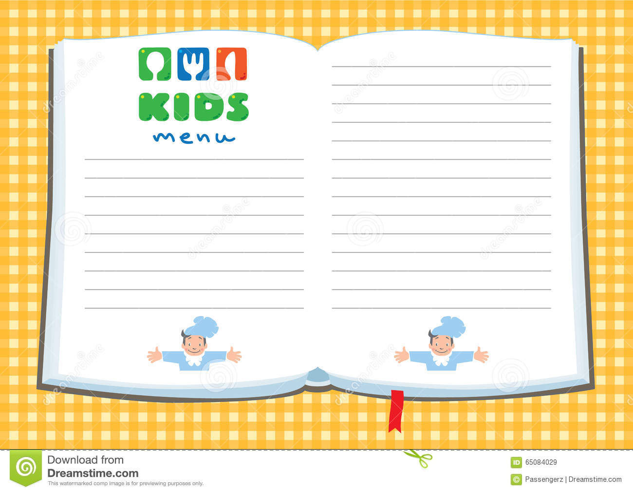 Design template background for kids menu stock vector for Free printable menu templates for kids
