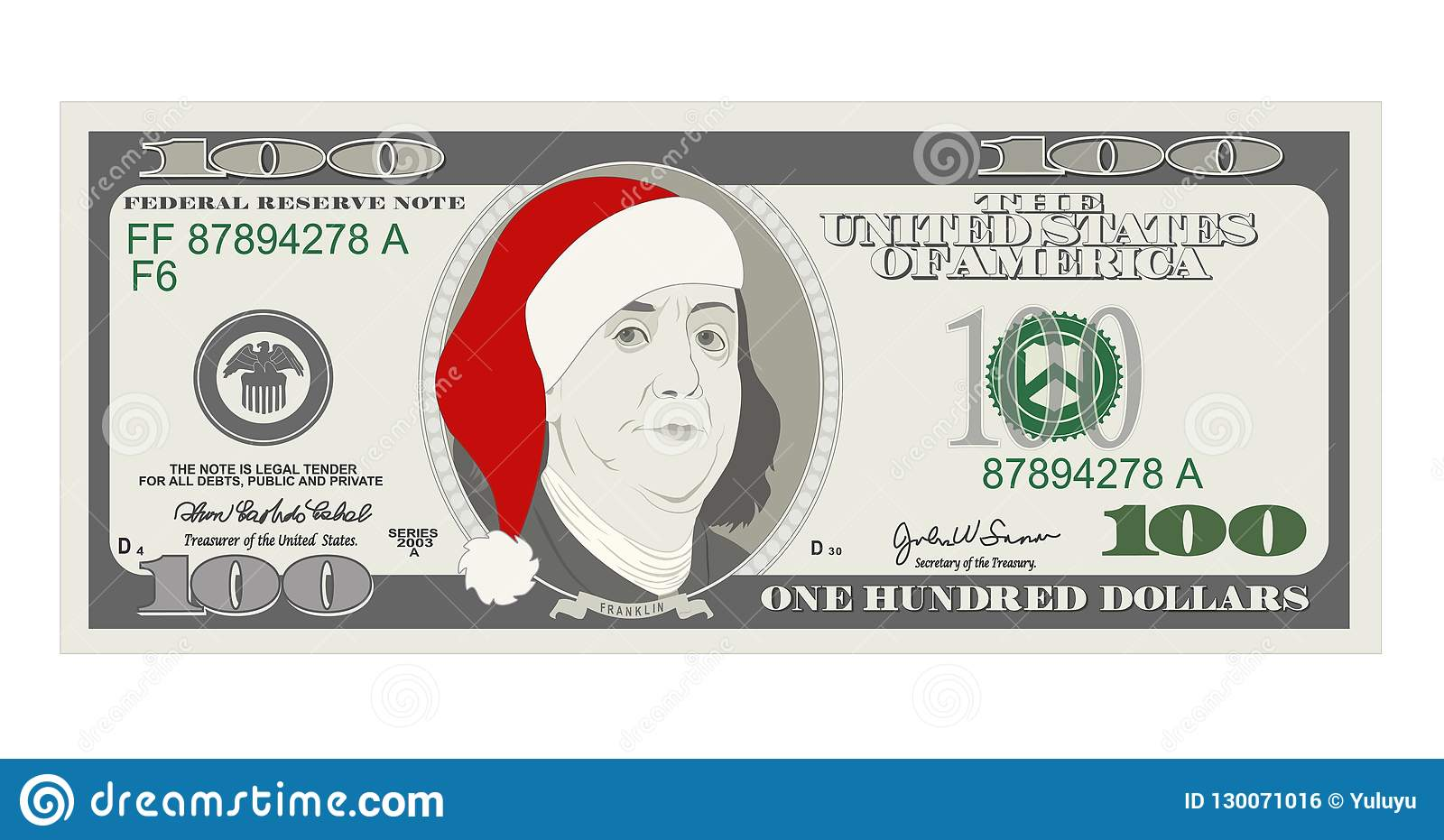 Design Template 50 Dollars Banknote With Santa Claus And Red Hat