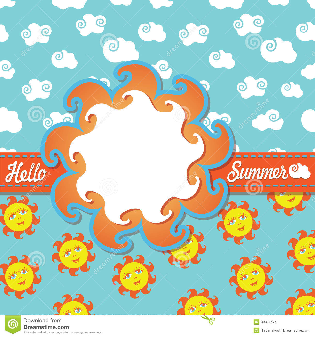 Design Template Hello Summer With Cartoon Sun And Stock Vector - Image: 39371674