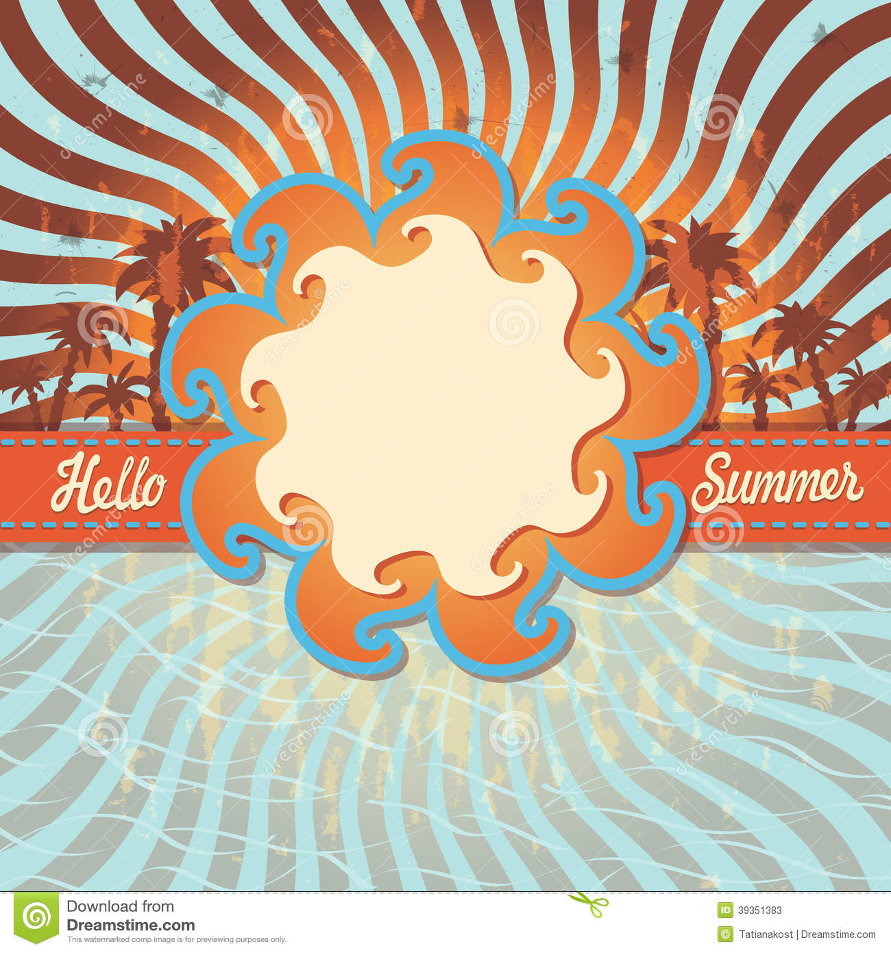 design template hello summer with palm tree retro stock vector