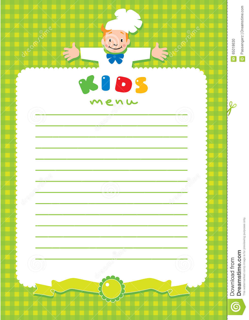 Design Template For Kids Menu With Funny Cook Boy Stock Vector ...