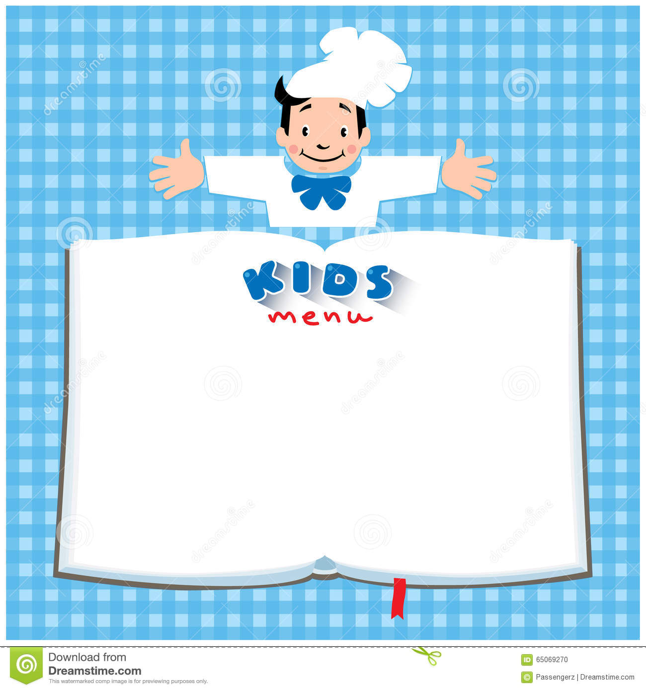 Design Template For Kids Menu With Funny Cook Boy Stock Vector - Image: 65069270