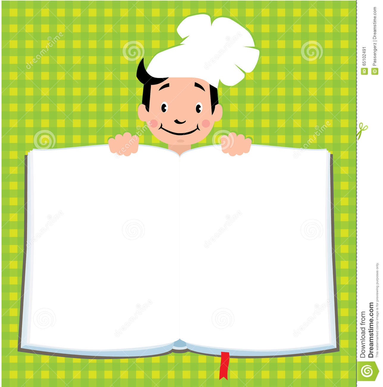 design template for kids menu with funny cook boy illustration