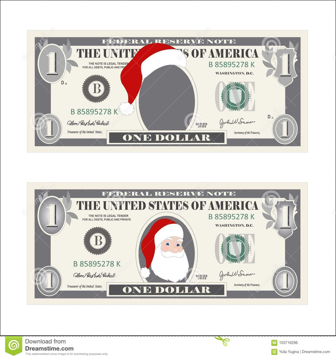 Design Template One Dollar Bill With Santa Claus Stock Vector