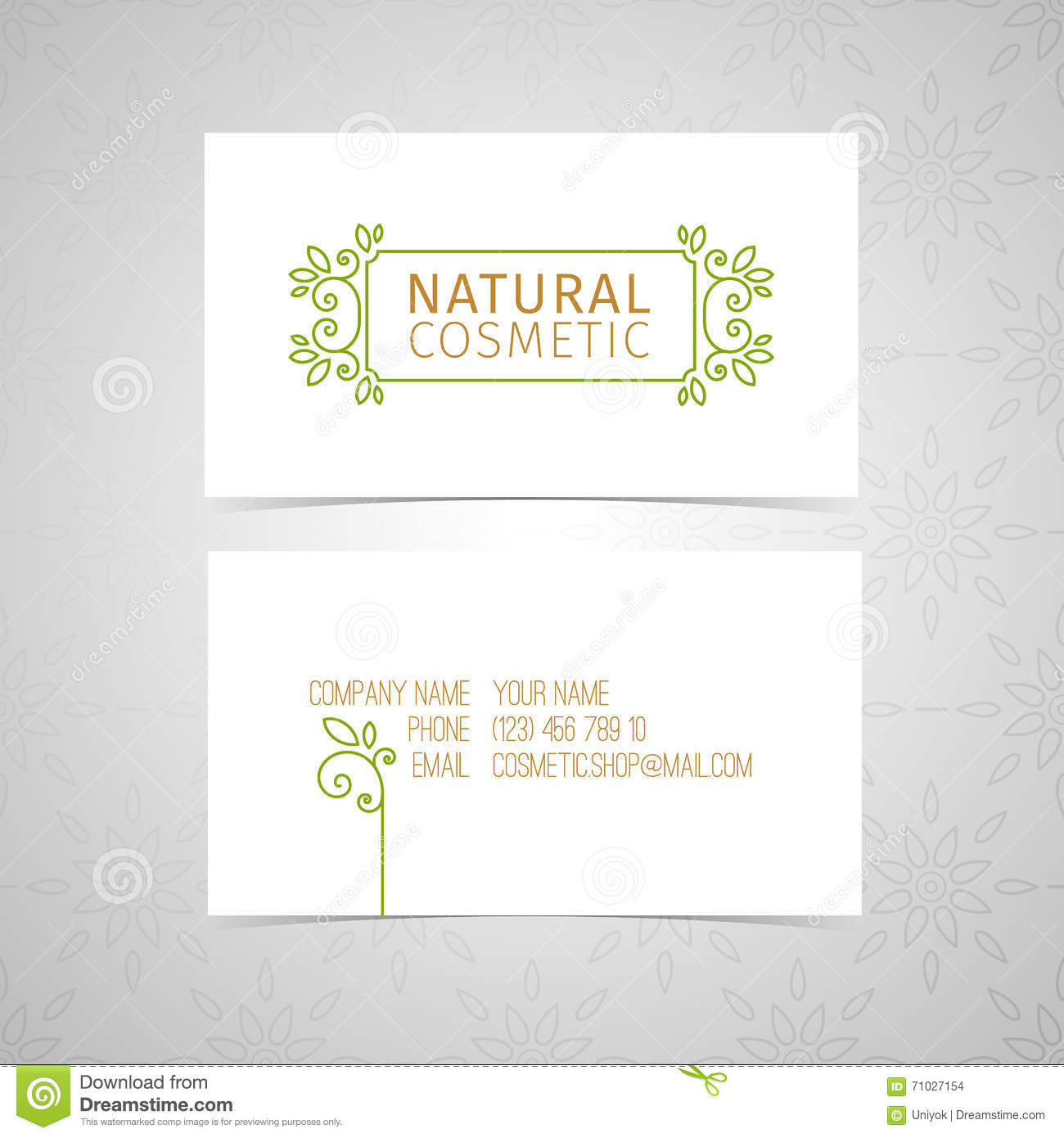 Design template for organic natural cosmetics business card with download comp colourmoves