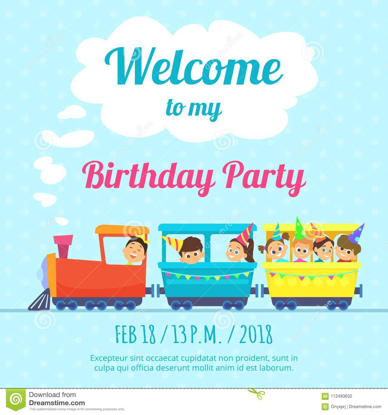 Design Template Of Poster For Kids Party Invitation Illustration Train Toys