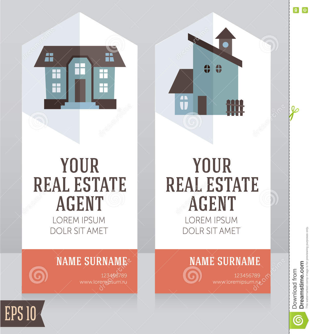 Design Template For Real Estate Agent Business Card Stock Vector ...