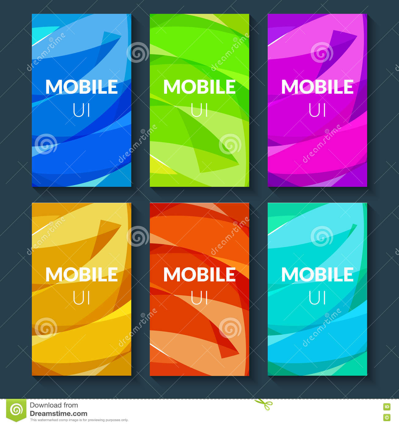 Template for mobile app design cartoon vector for Mobel design