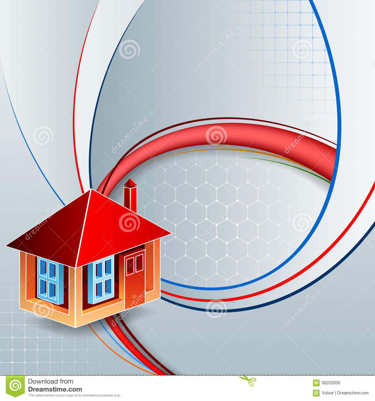 Design Template With Three Dimensions Stylized House On Linear