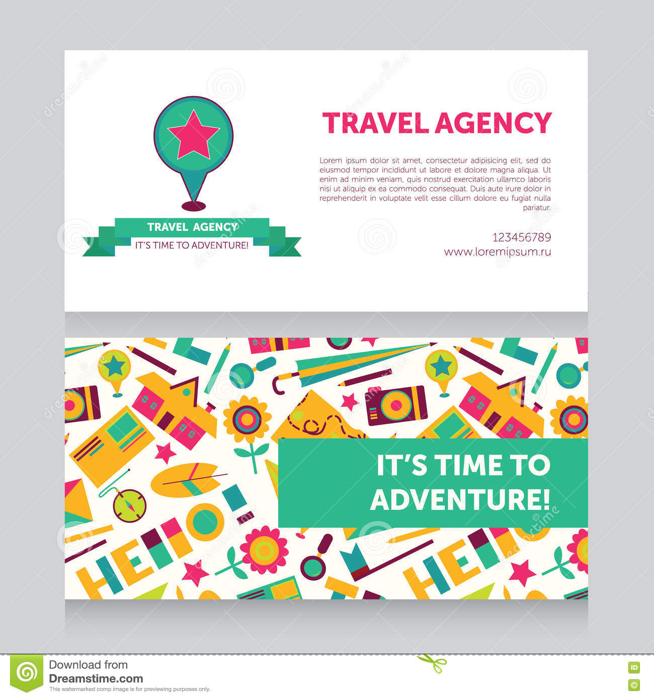 Design Template For Travel Agency Business Card Stock Vector