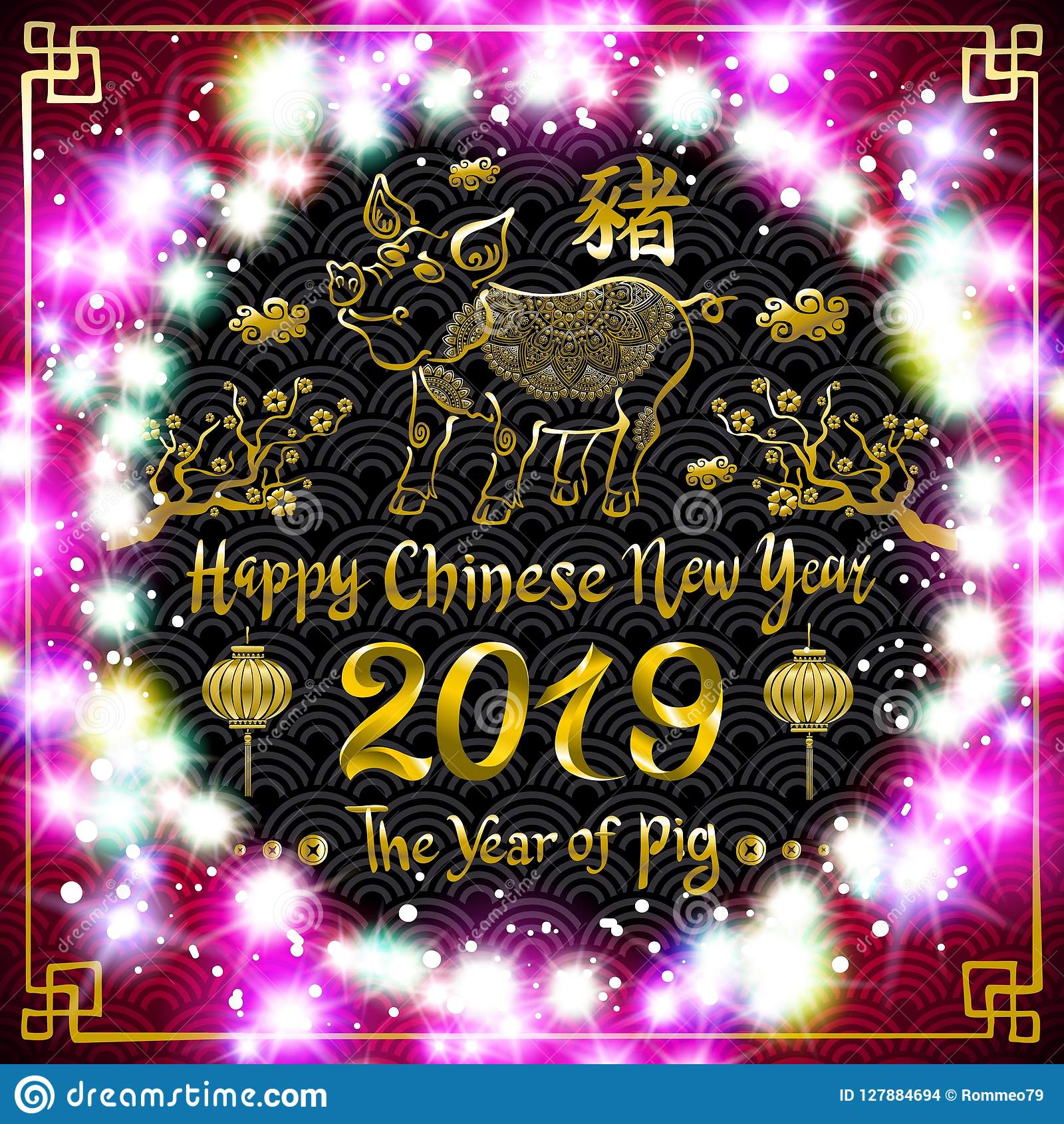 2019 design template vector chinese new year of pig greeting card