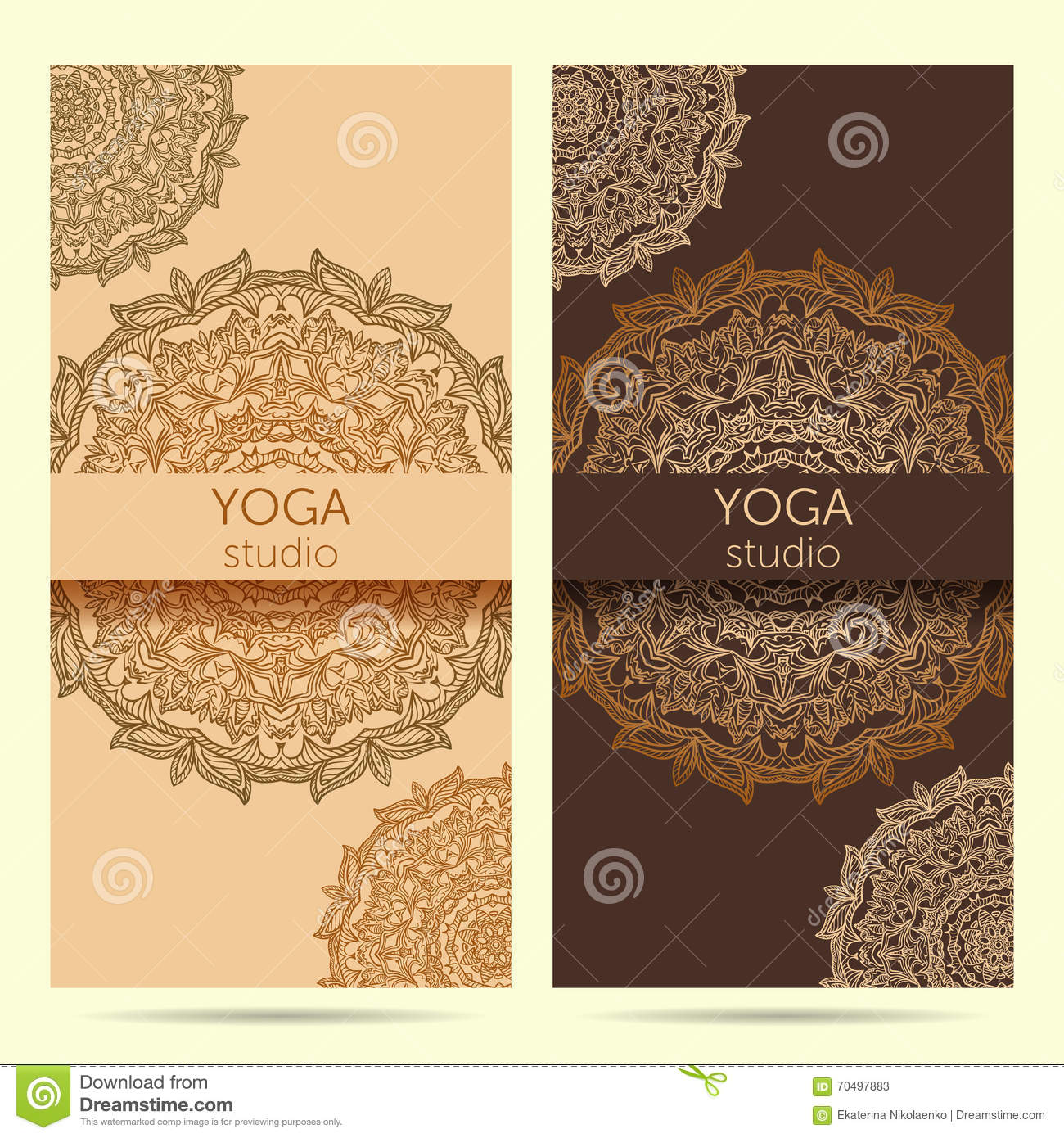 Design Template For Yoga Studio With Mandala Ornament Background Stock Vector Illustration Of Class Design 70497883