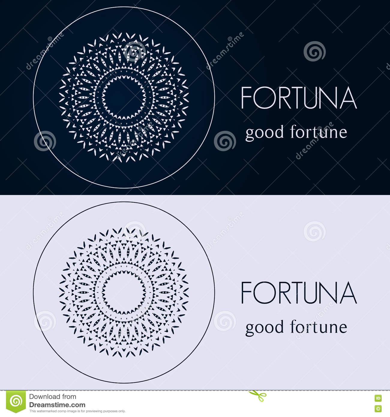 Design Templates In Blue And Grey Colors Creative Mandala Logo