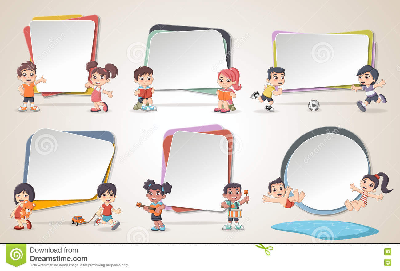 Design Text Box Frame Backgrounds With Cartoon Children Stock Vector ...