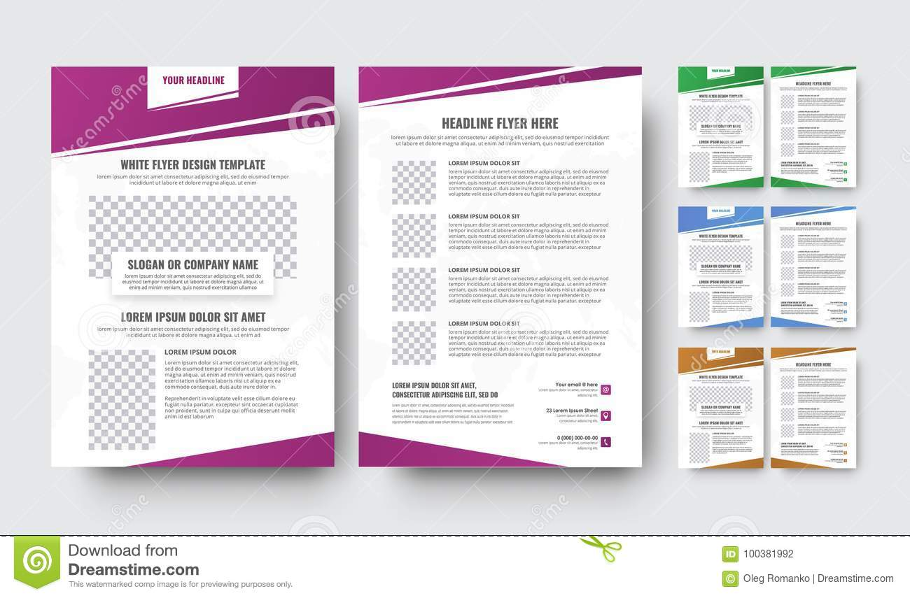Templates Of The Front And Back Pages Of The Flyer With Gradien