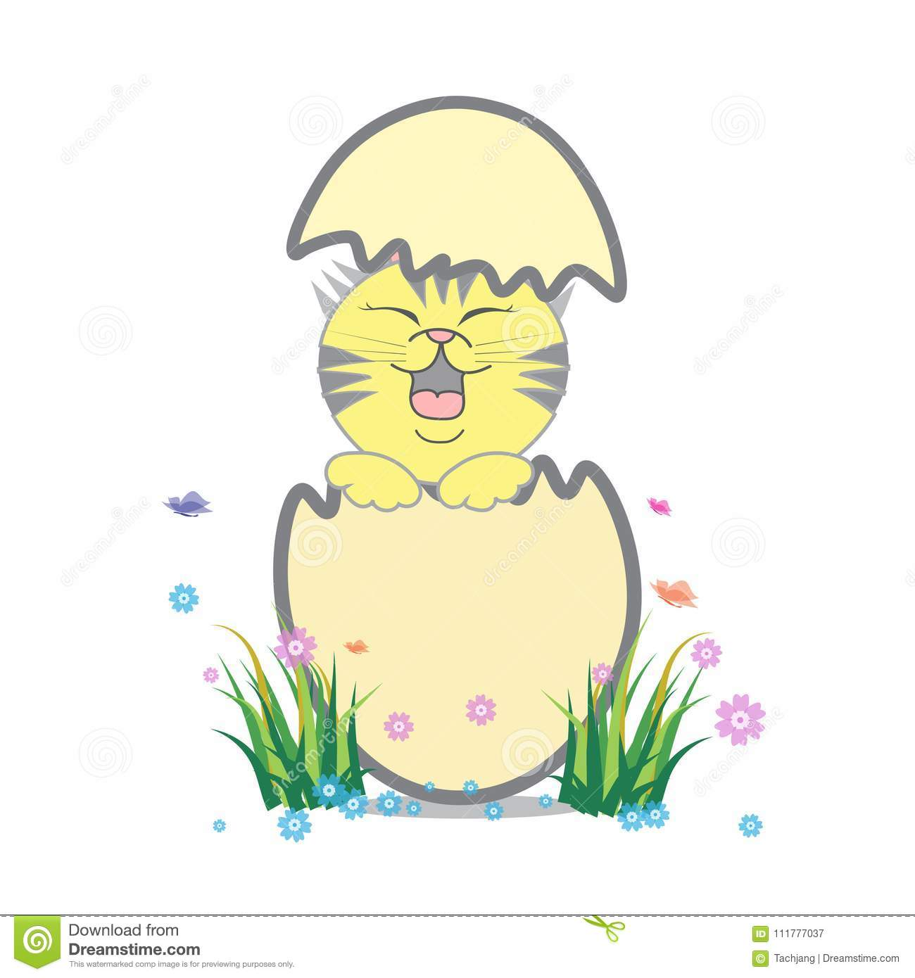 Design of vector easter, eggs with cute cat.
