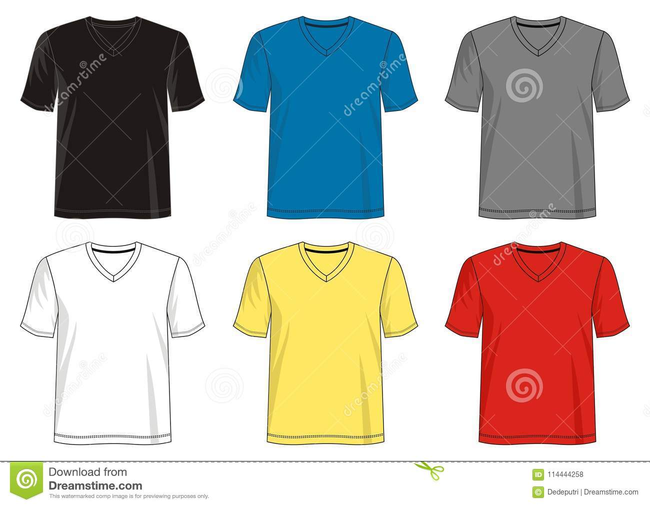 69ac760ff43e Design vector t shirt template collection for men with color black white  blue yellow red gray. More similar stock illustrations