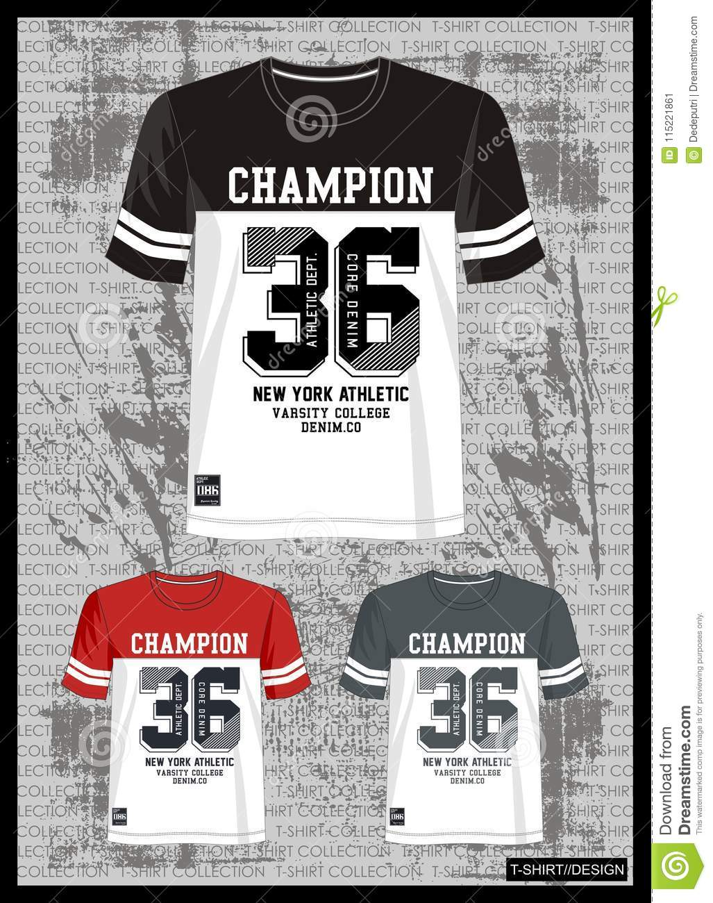 dde52241676f Design vector template t shirt collection for men with color black red grey  and white