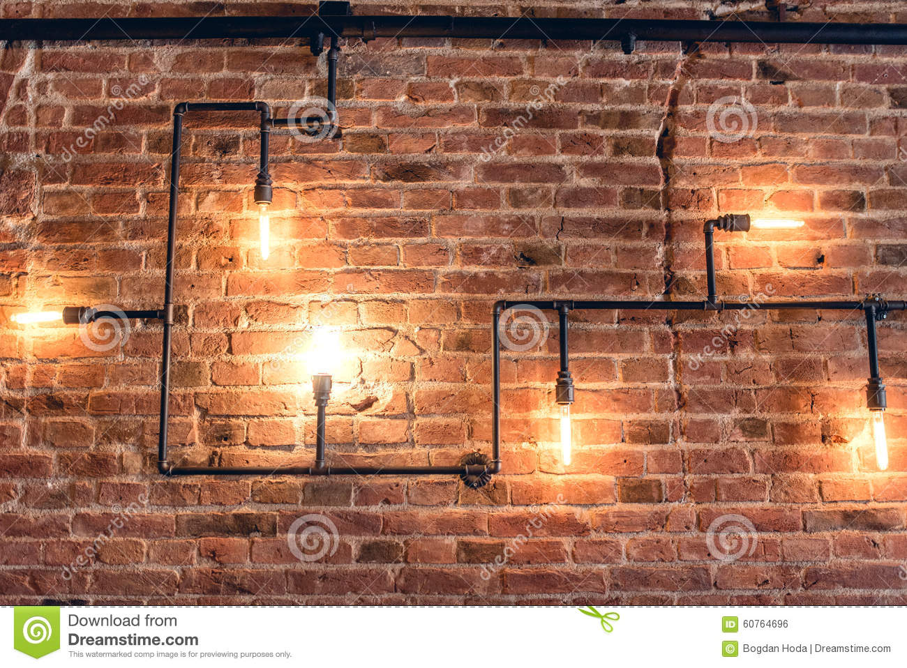 Retro Interior Wall Lights : Design Of Vintage Wall. Rustic Design, Brick Wall With Light Bulbs And Pipes, Low Lit Bar ...