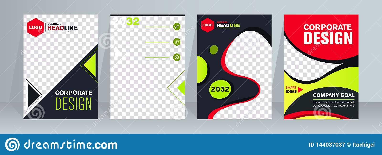 Design Web banners of different standard sizes. Templates with round place for photos, buttons. Vector illustration.
