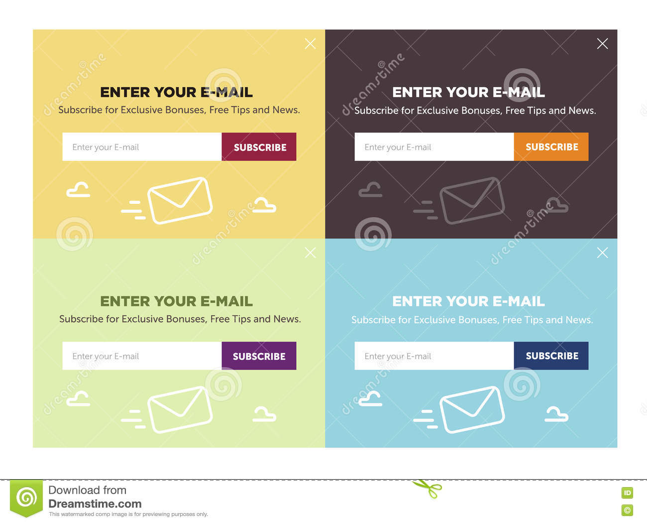 Design Of The Website Form For Email Subscribe Vector Set  Stock