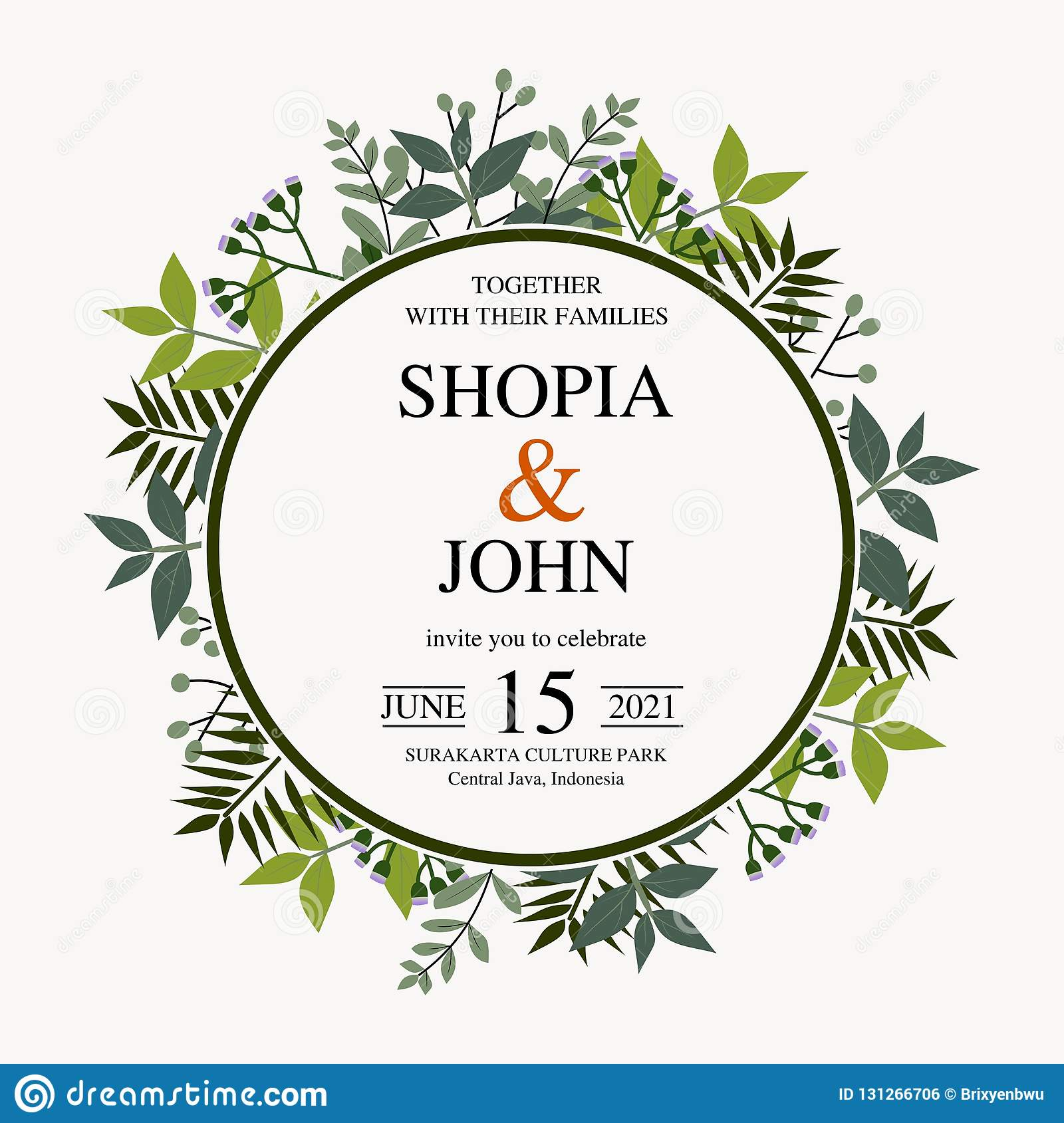 Beautiful Wedding Invitation. Vector Natural, Botanical, Elegant