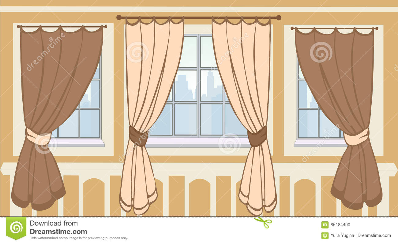 Interior design of windows in urban apartment cartoon for Window design cartoon