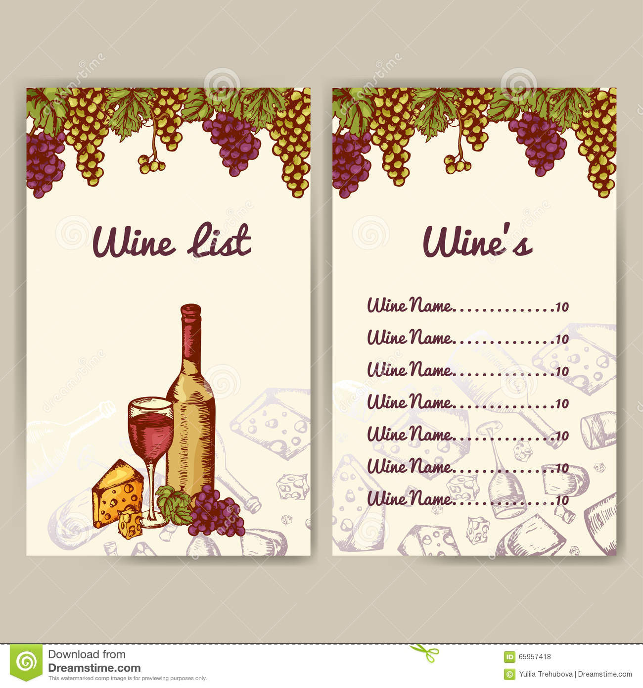 Design For Wine List. Restaurant Template For Invitation, Menu, Banner Or  Etc. Wine Concept Design. Vector Illustration  Free Wine List Template