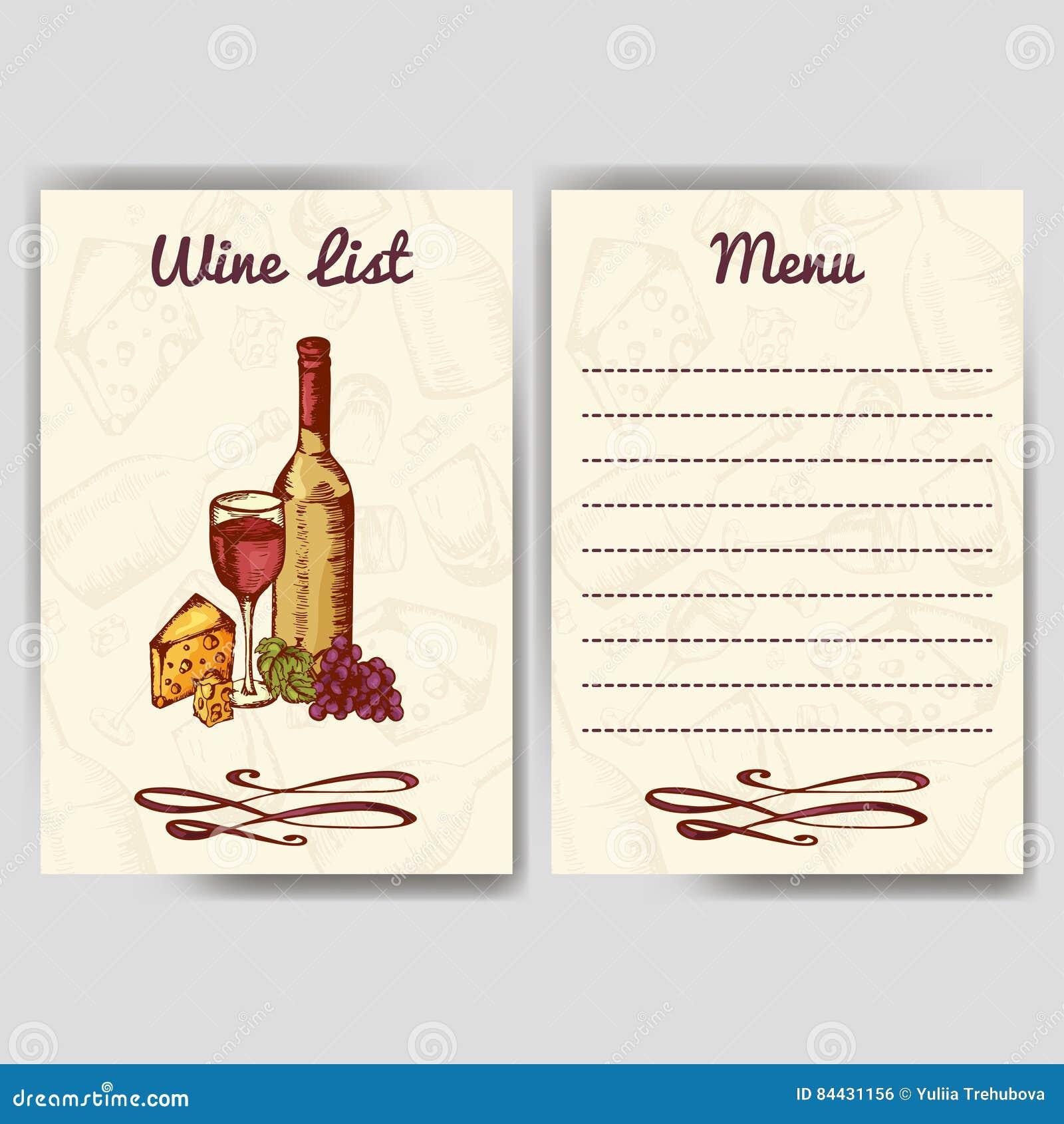Design for wine list restaurant template for invitation for Menu reception amis