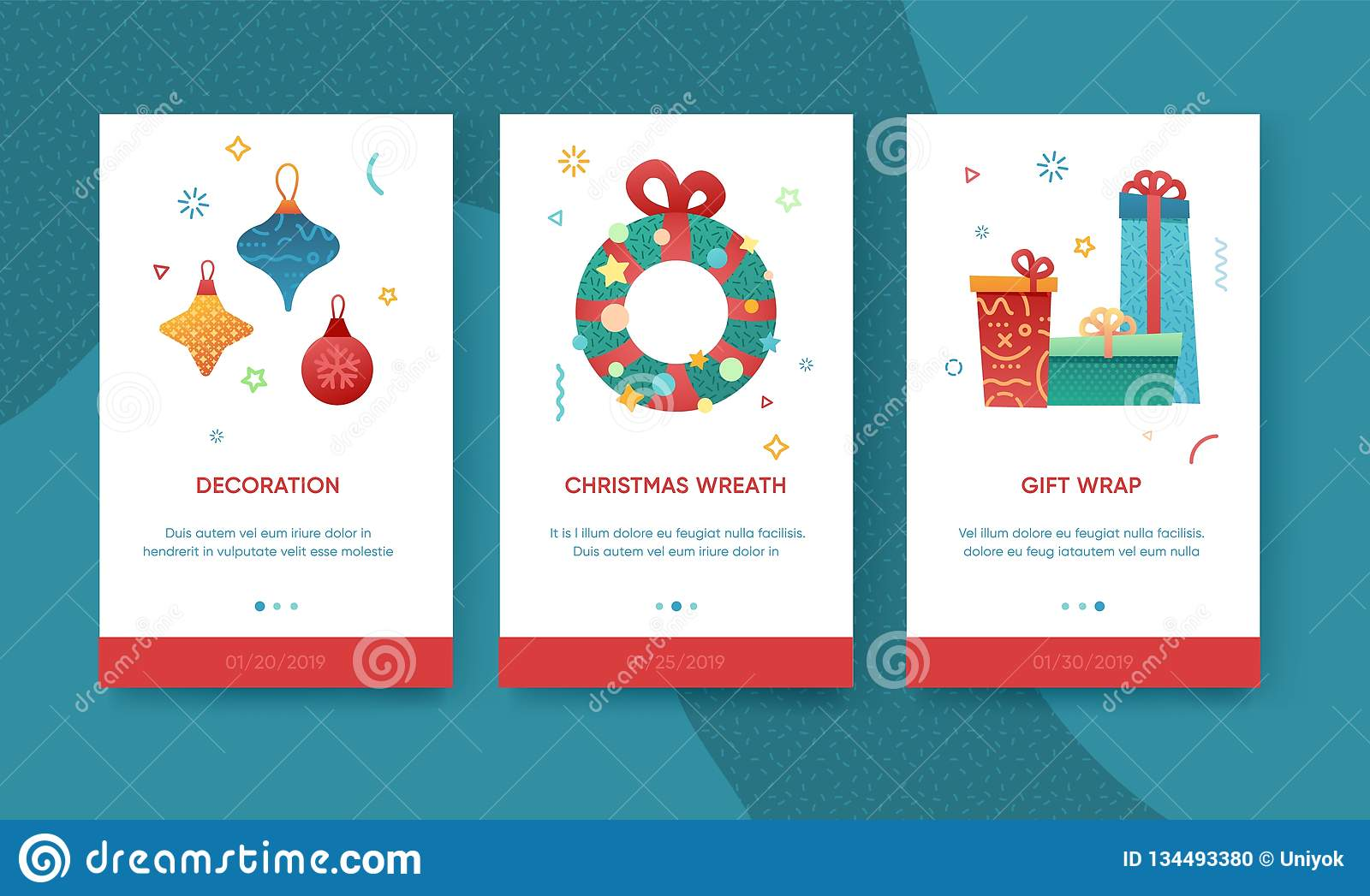 90851b3c43362 Design winter holidays UI template. Merry Christmas and Happy New year  website layout. Flat Christmas elements icon. Trendy illustration for  holiday offer ...