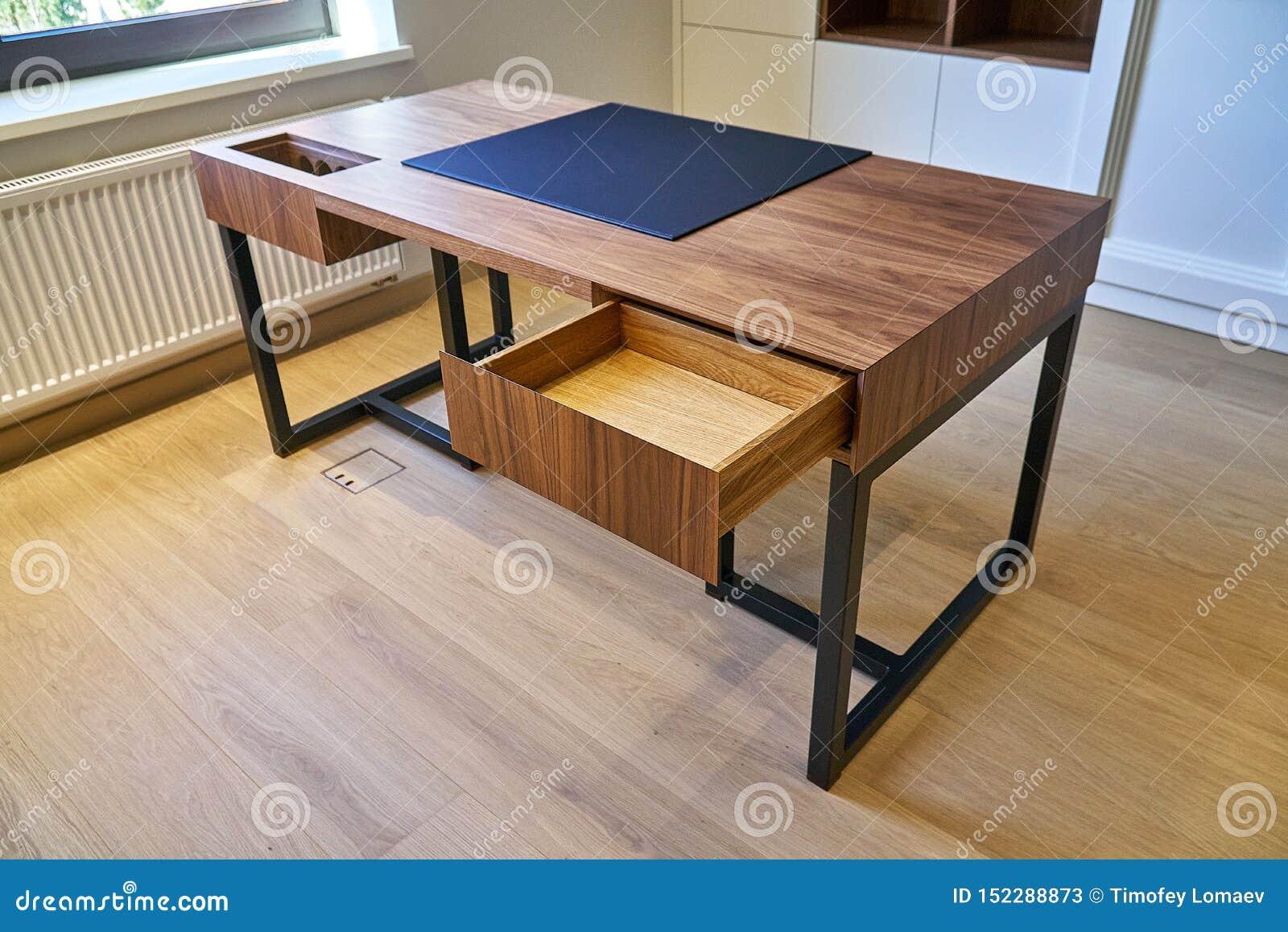 Design Of Wooden Desk For Modern Office Stock Image Image Of Elegance Minimal 152288873