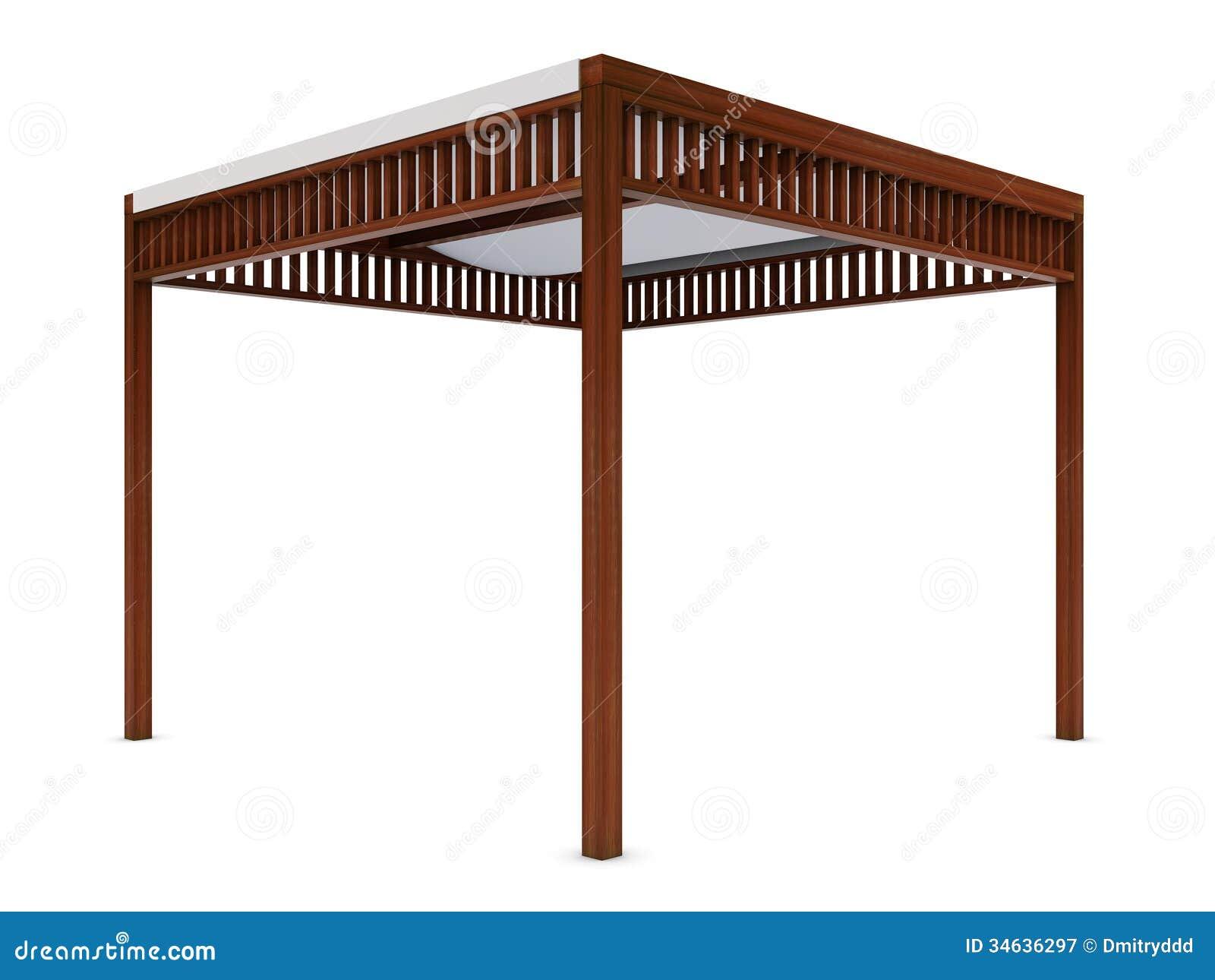 Design Wooden Pergola On The White Royalty Free Stock ...