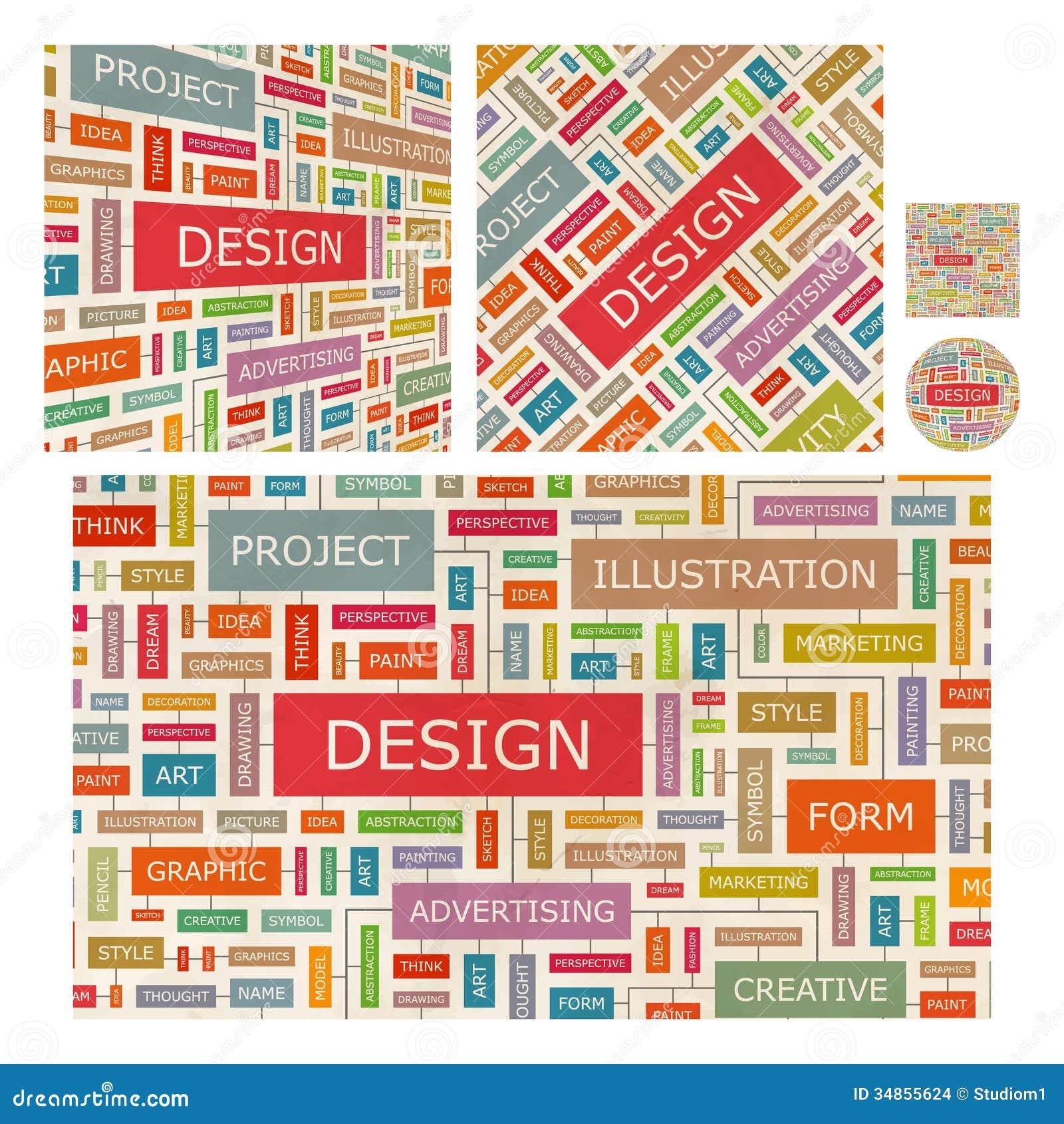 Design word cloud illustration tag cloud concept collage