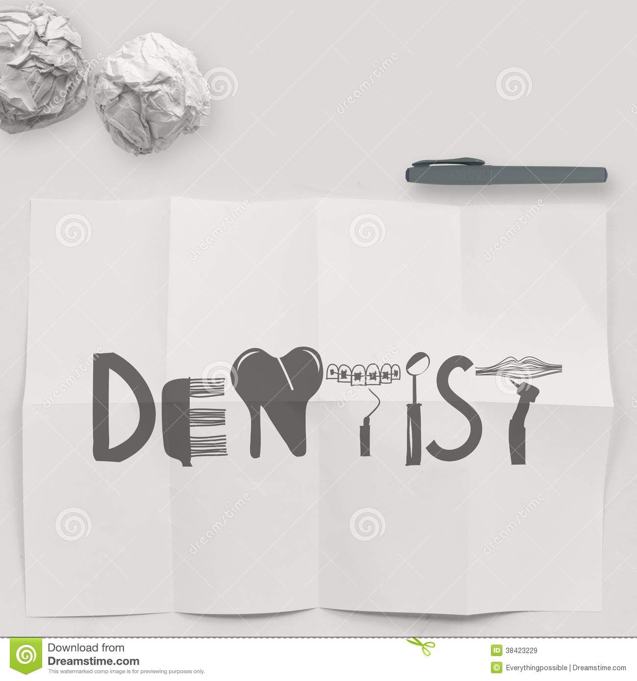 Design Word DENTIST On White Crumpled Paper And Texture Royalty ...